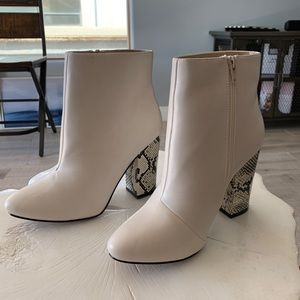 JustFab Faux Leather White Ankle Boots